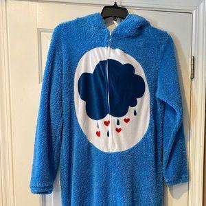 Blue Care Bear fleece Onsie PJ NWOT med
